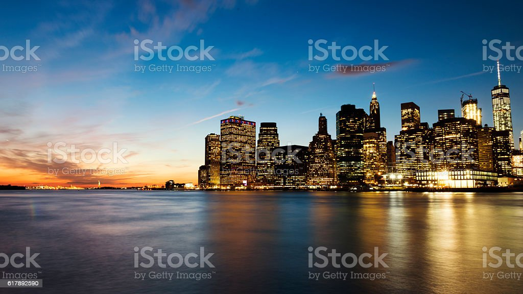 Sunset in New York City as Seen from Brooklyn stock photo