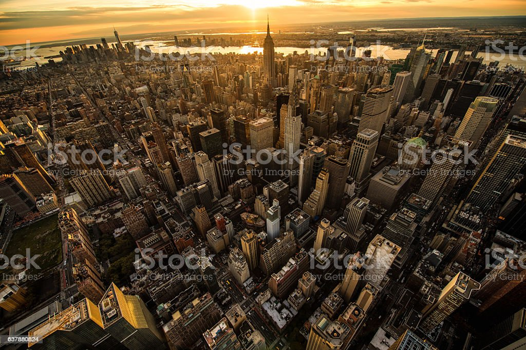 Sunset in New York stock photo