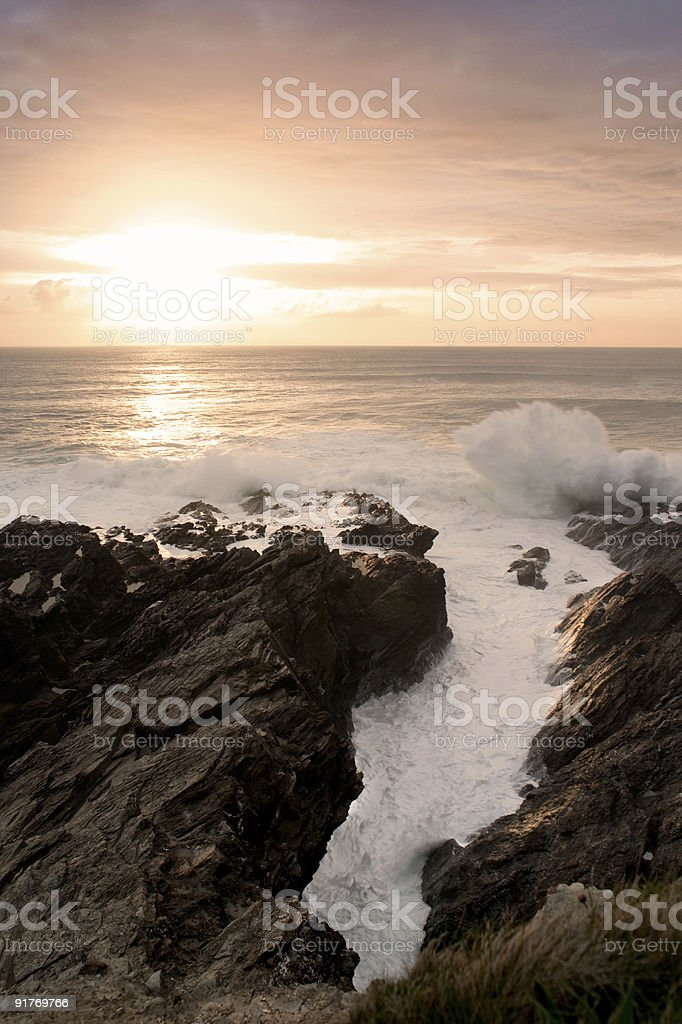 Sunset in Newquay royalty-free stock photo