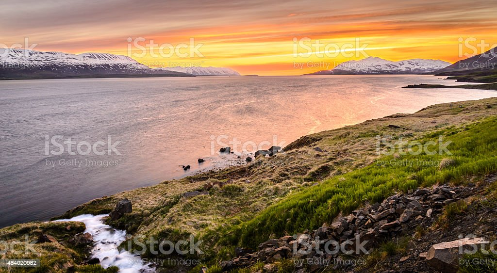 Sunset in north of Iceland near Akureyri stock photo