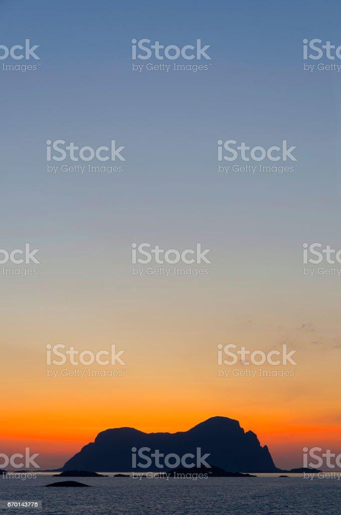 Sunset in norwegian fjords stock photo