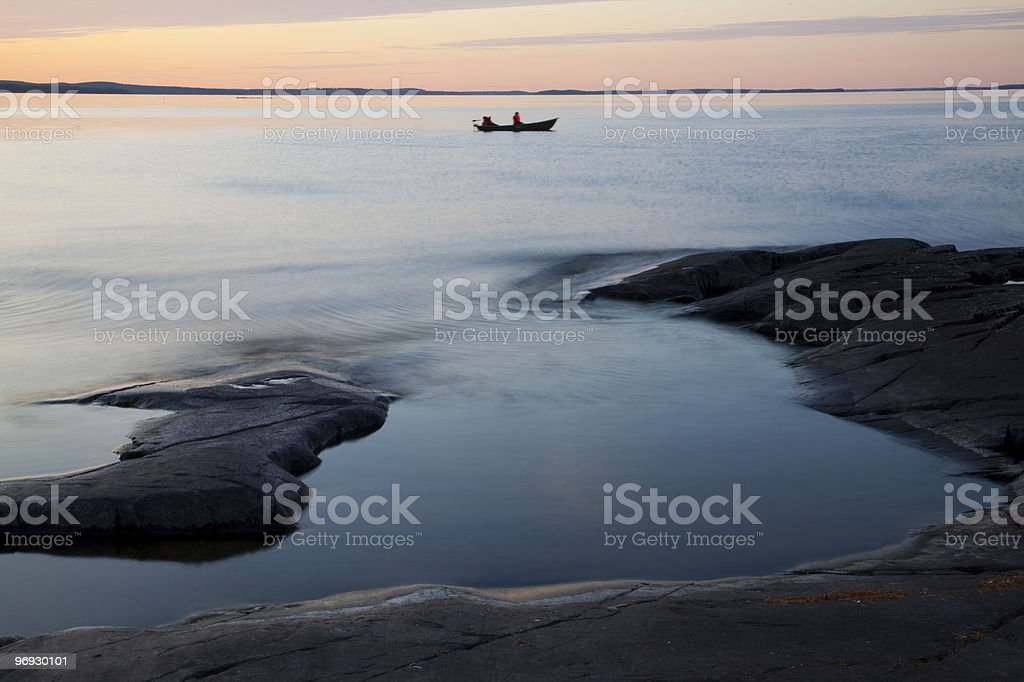 Sunset in N?sij?rvi Lake stock photo