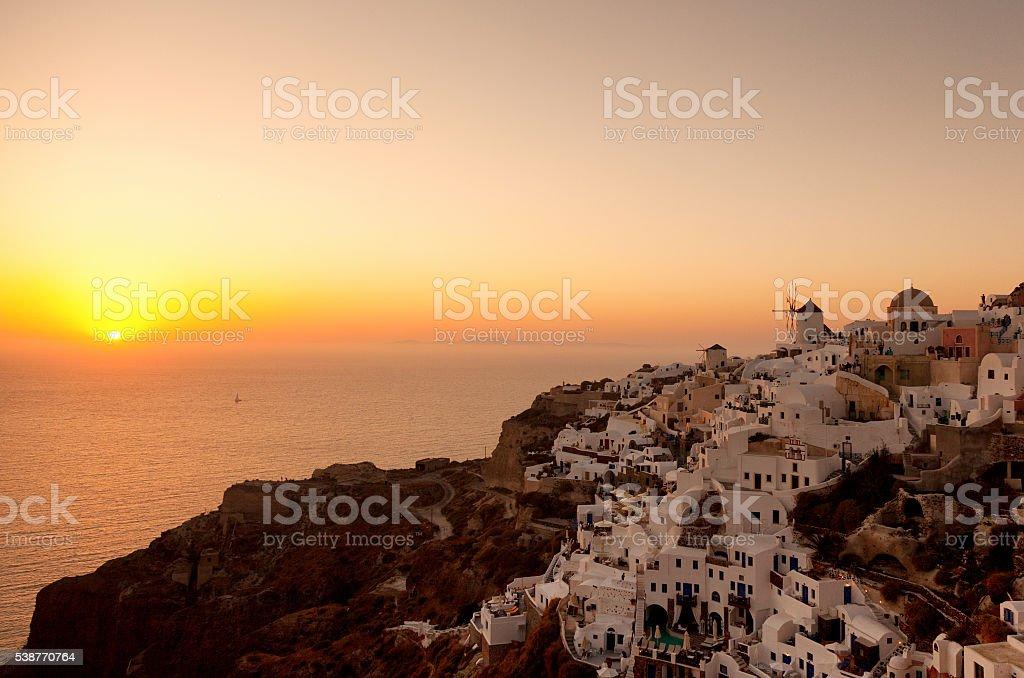 Sunset in Oia, Santorini stock photo