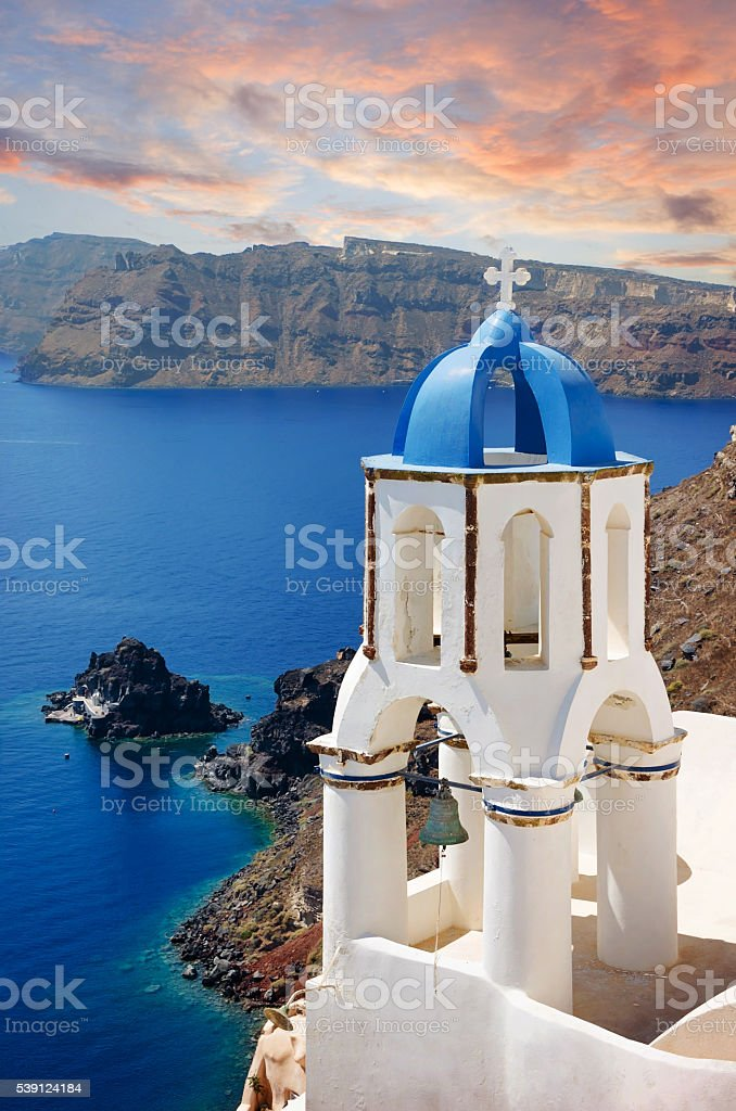 Sunset in Oia town- Santorini Island, Cyclades in Greece stock photo