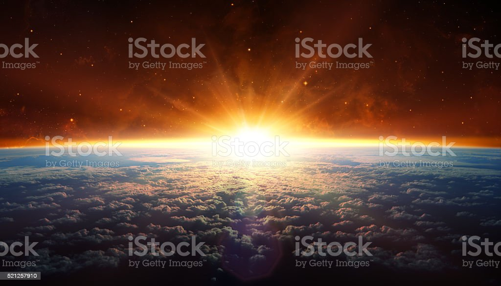 Sunset In Orbit stock photo