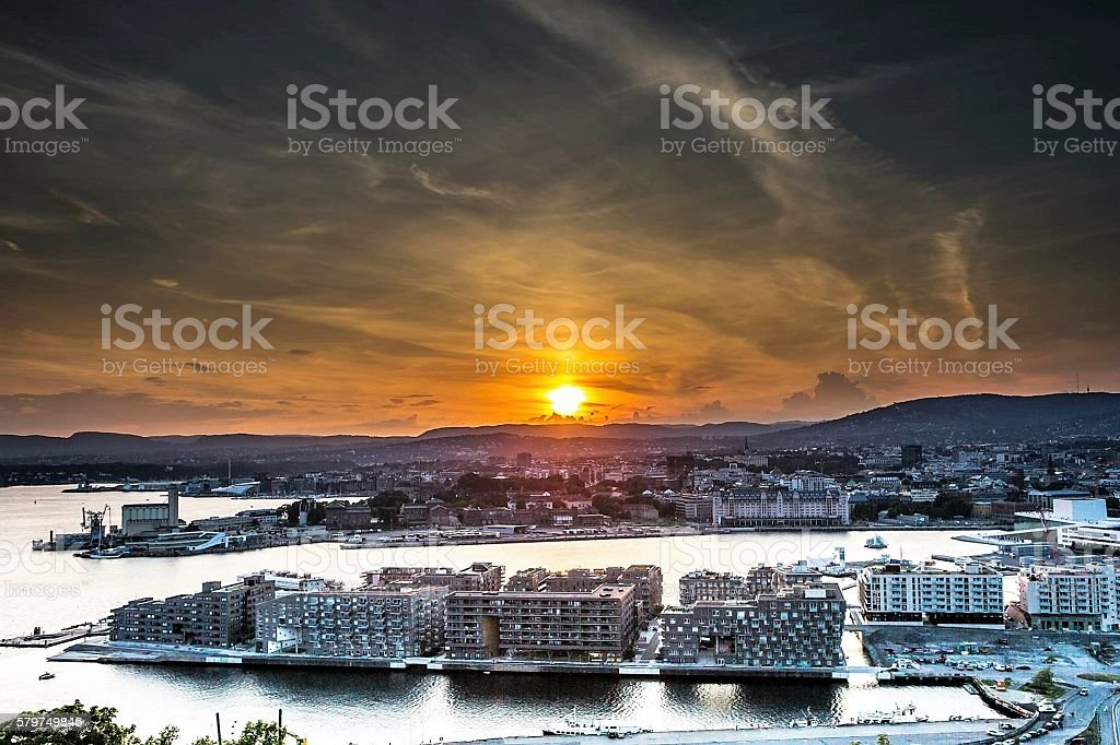 sunset in Oslo stock photo