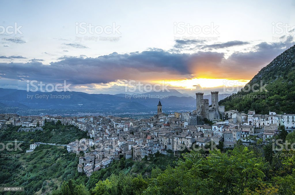 Tramonto a Pacentro stock photo