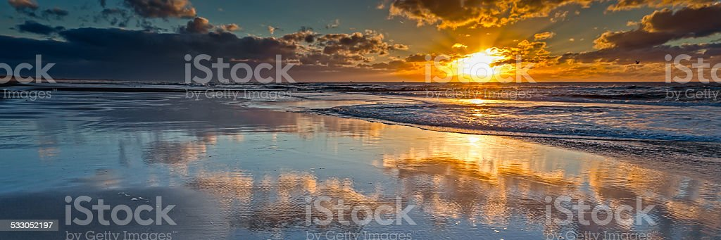 Sunset in panoramic stock photo