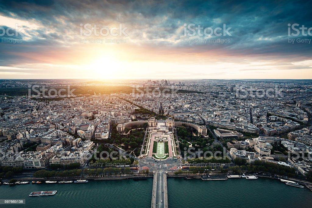 Sunset In Paris stock photo