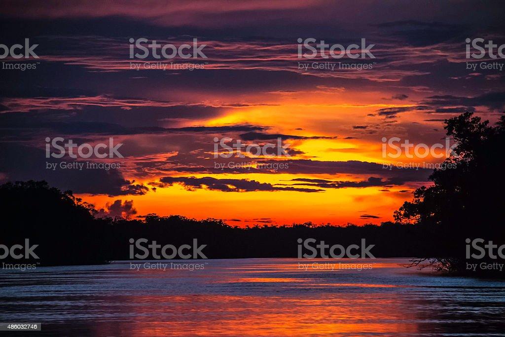 Sunset in Pasimoni river tributary of Rio Negro  Venezuela stock photo