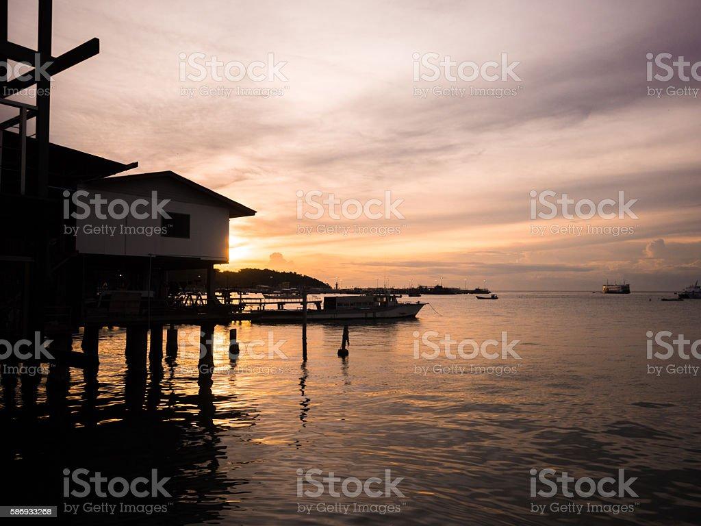 Sunset in Pattaya Beach stock photo