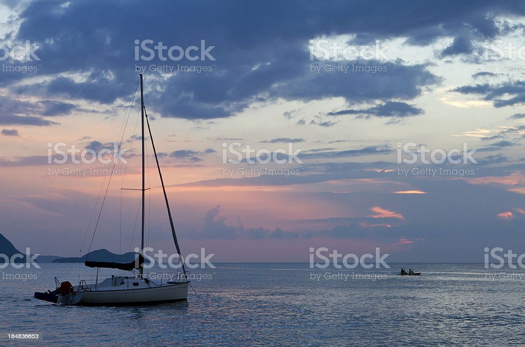 Sunset in Pattaya with sail boat in Thailand royalty-free stock photo