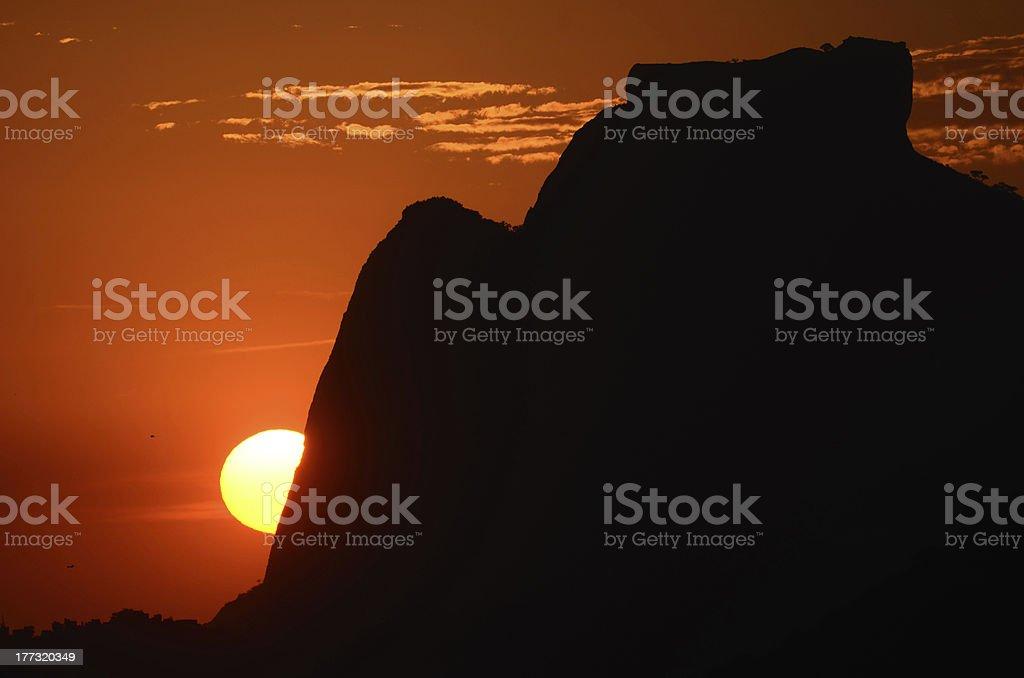 Sunset in Pedra da Gavea Rio de Janeiro royalty-free stock photo