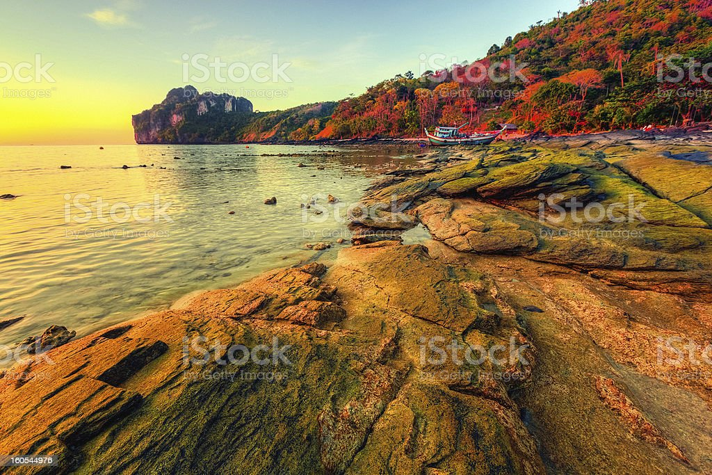 Sunset in Phi-Phi Don Island, Thailand stock photo