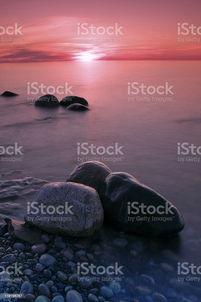 Sunset in Pictured Rocks stock photo