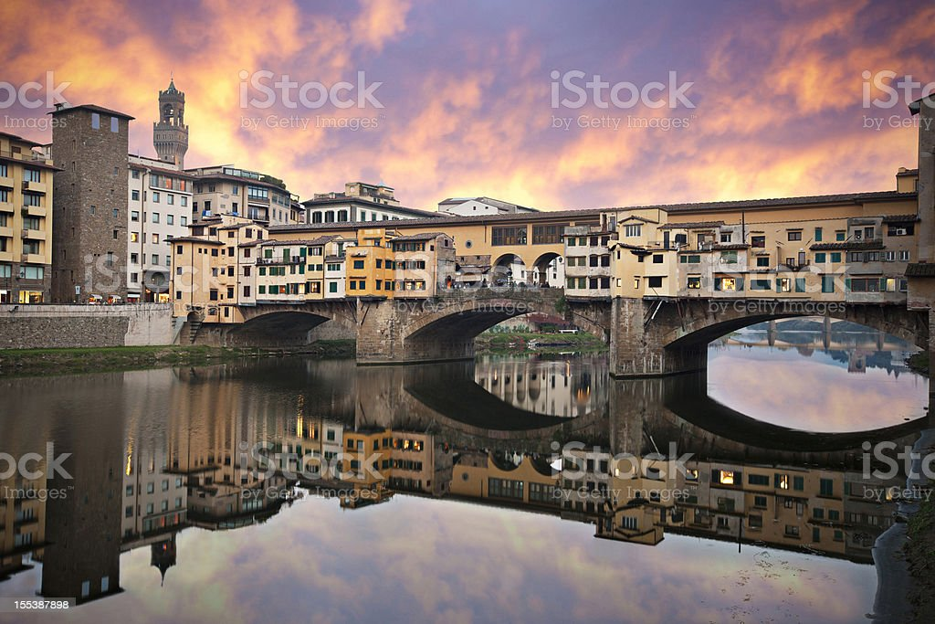 Sunset in Ponte Vecchio stock photo