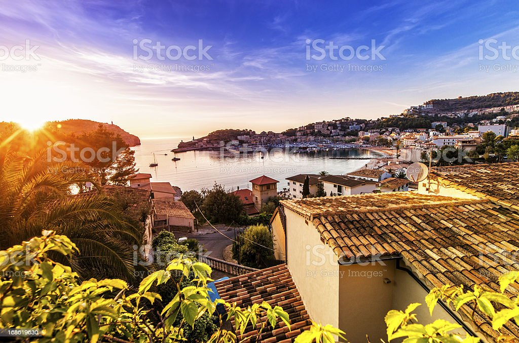 Sunset in Port De Soller (Mallorca) stock photo