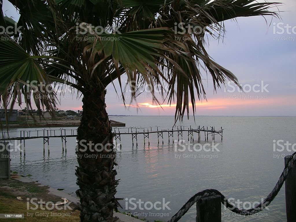 Sunset in Port Isabel, Texas stock photo