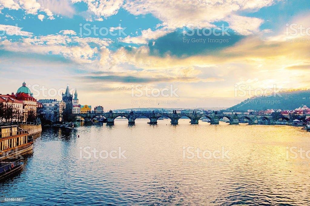 Sunset in Prague stock photo