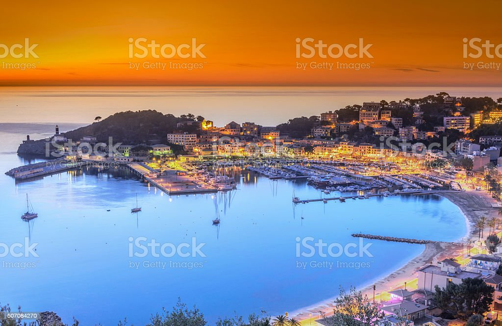 Sunset in Puerto de Soller (Mallorca) stock photo
