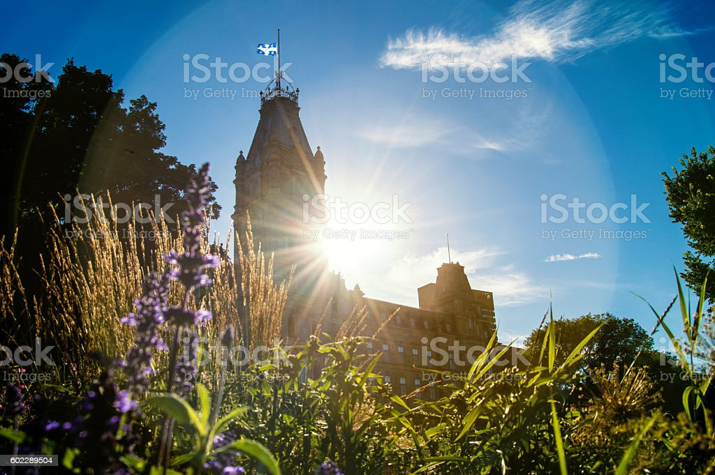 Sunset in Quebec City stock photo