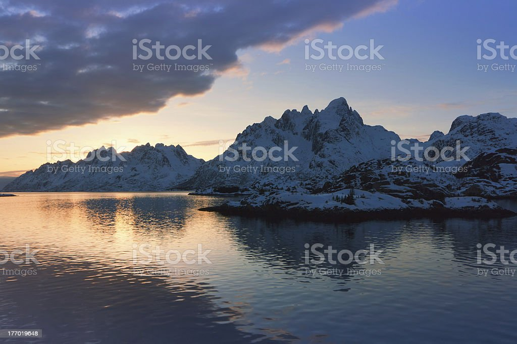 Sunset in Raftsund near the entrance of Trollfjord, Norway stock photo