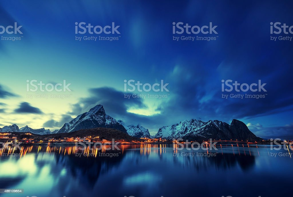 sunset  in Reine Village, Lofoten Islands, Norway stock photo