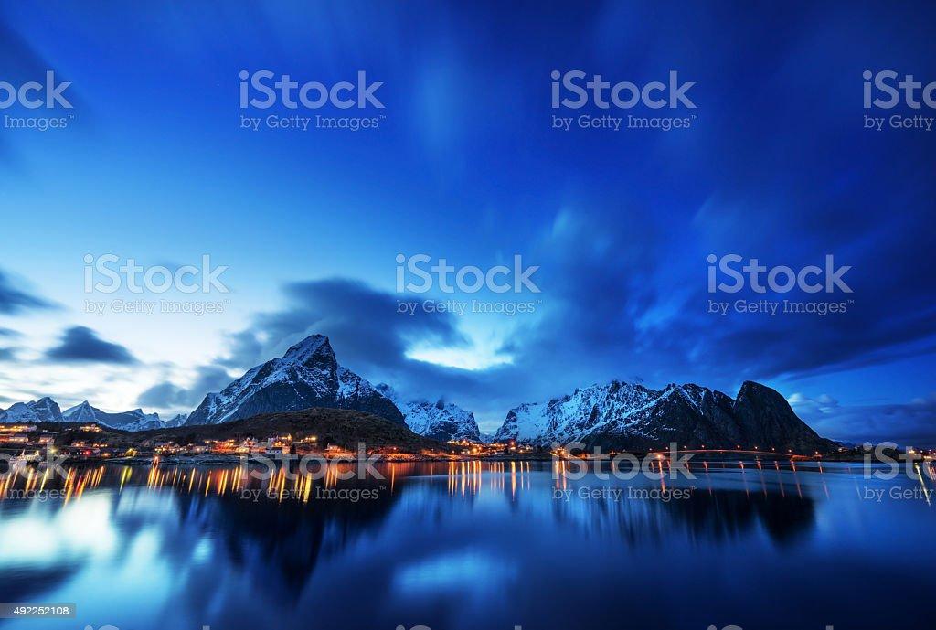 sunset  in Reine Village, Lofoten Islands, Norway stock photo