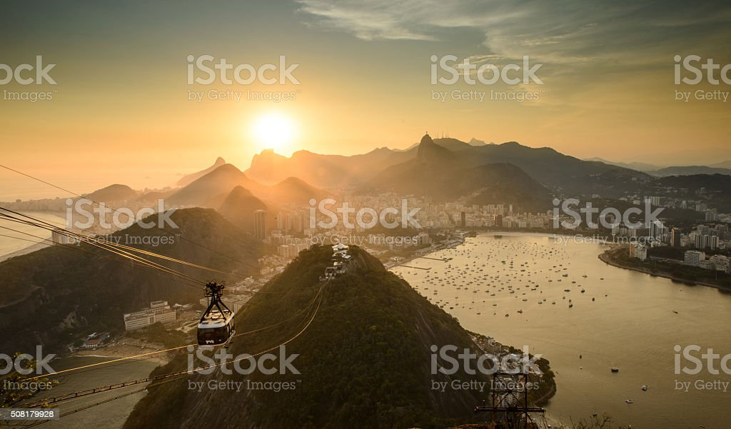 Sunset in Rio de Janeiro stock photo