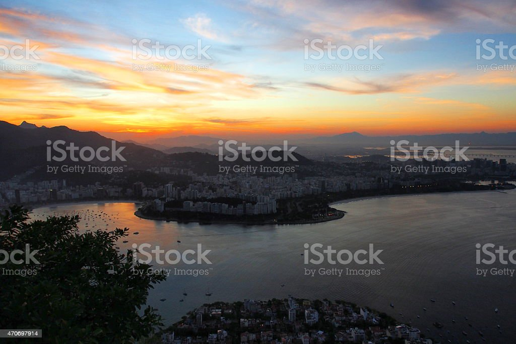 Sunset in Rio stock photo