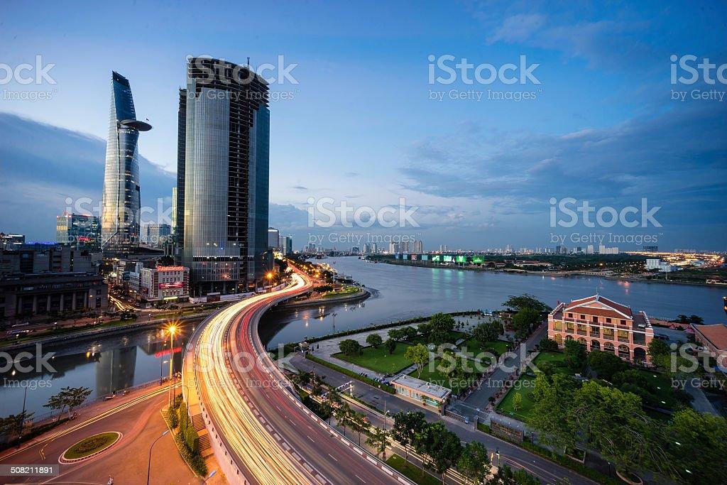 Sunset in Saigon stock photo