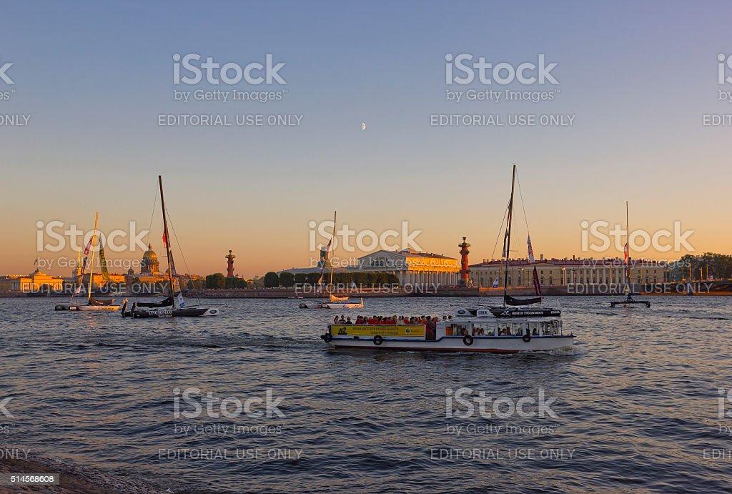 Sunset in Saint Petersburg, Russia stock photo