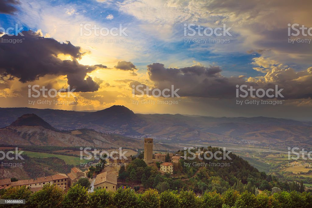 Sunset in San Leo royalty-free stock photo