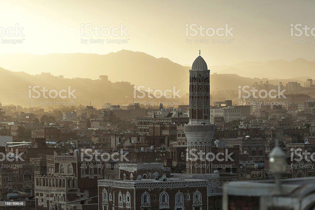 Sunset in Sana, Yemen royalty-free stock photo