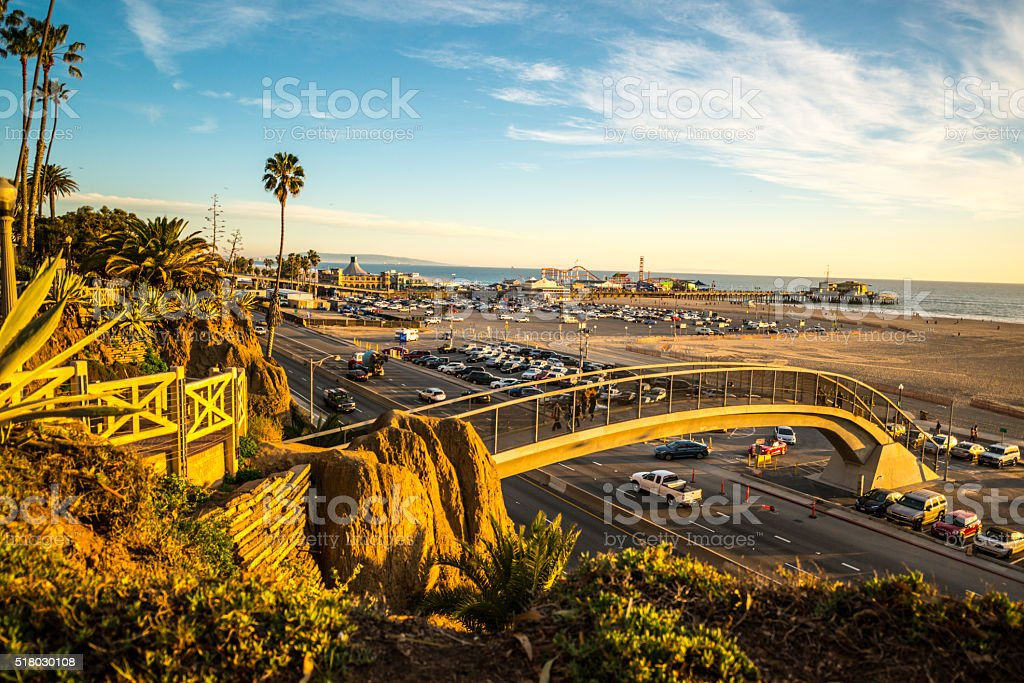Sunset in Santa Monica, California, USA stock photo