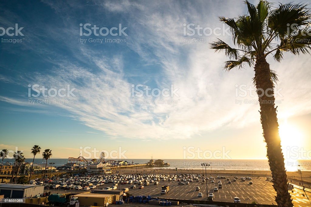 Sunset in Santa Monica, California, USA stock photo