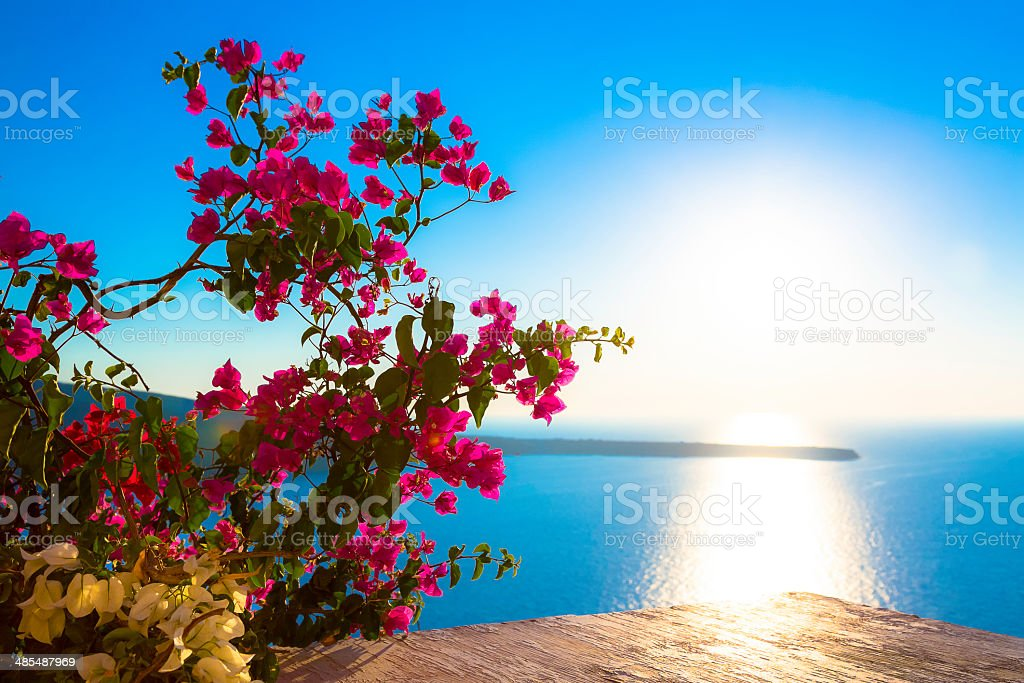 Sunset in Santorini, Greece stock photo