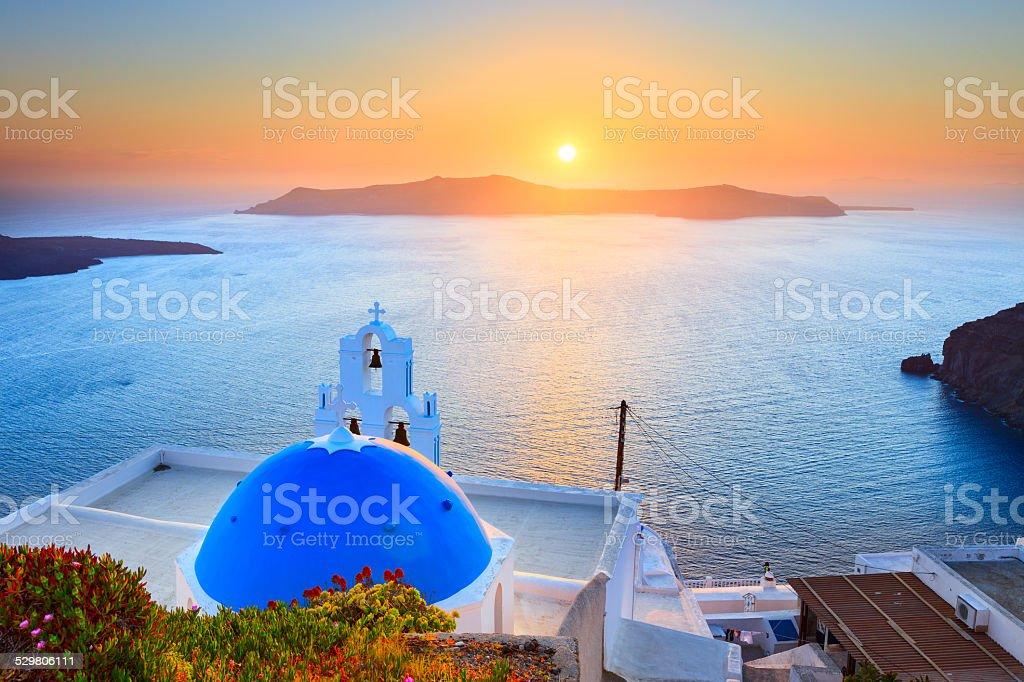 Sunset in Santorini Greece stock photo