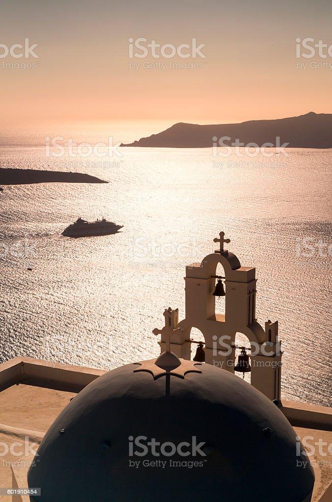 Sunset in Santorini island in Greece with cruise ship stock photo