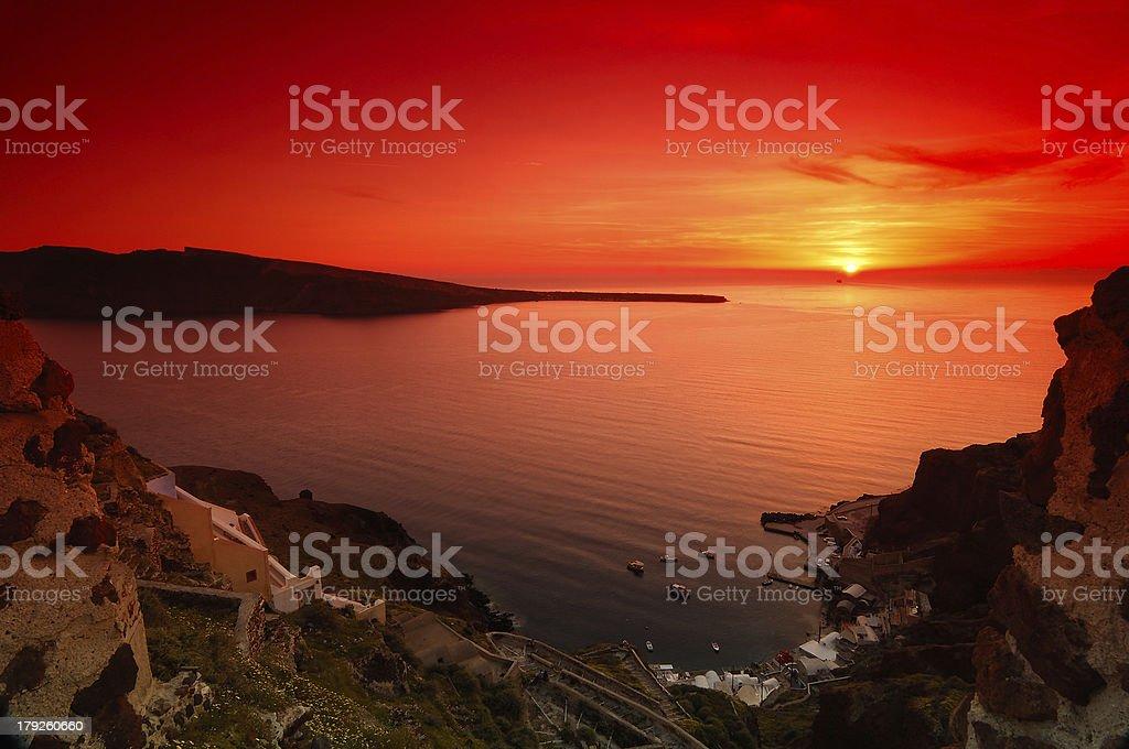 Sunset in Santorini royalty-free stock photo