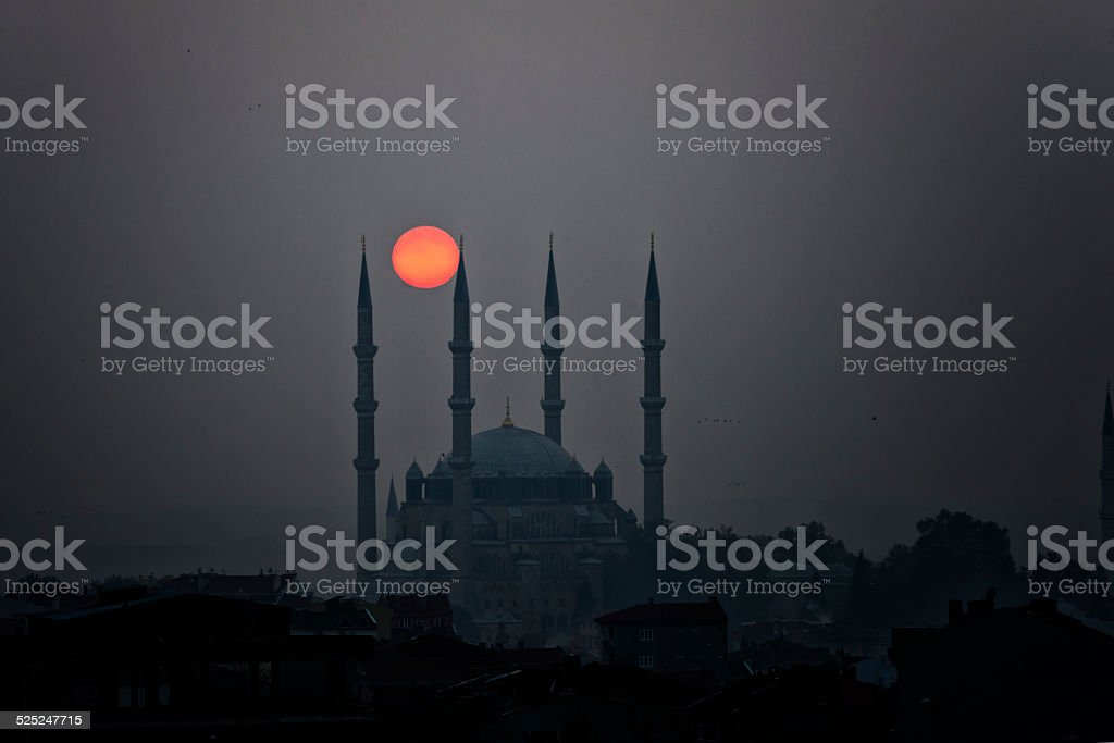 Sunset  in Selimiye Edirne stock photo