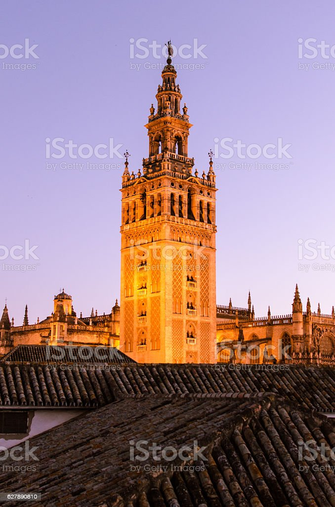 Sunset in Seville - A view of the Giralda stock photo