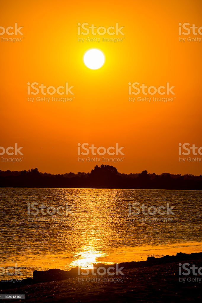 Sunset in Sf. Gheorghe over Delta Danuba stock photo