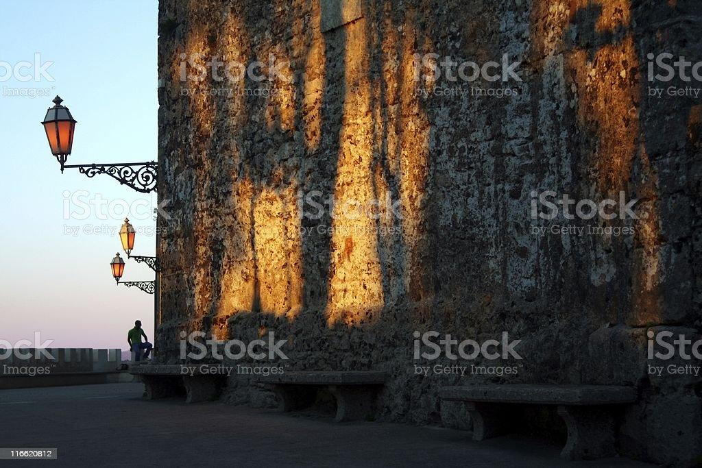 Sunset in Sicily stock photo