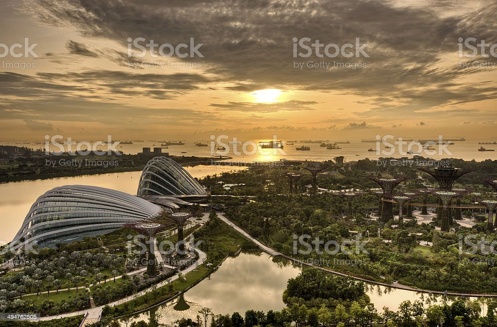 Sunset in Singapore stock photo