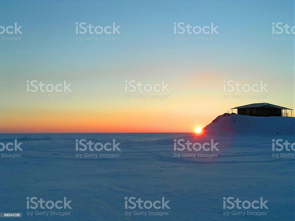 Sunset in snow desert royalty-free stock photo