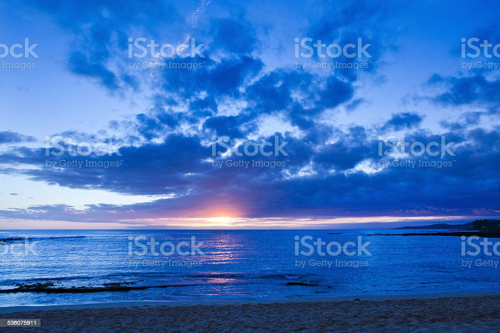 Sunset in South Coast Poipu Beach Kauai Hawaii Horizontal stock photo