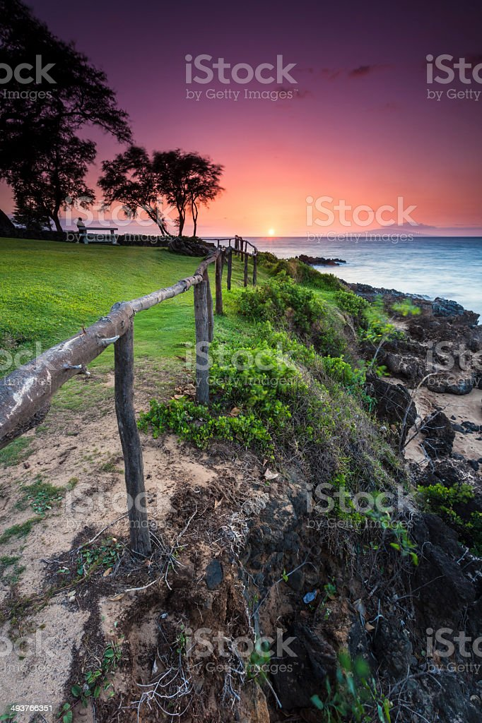 Sunset in South Maui stock photo