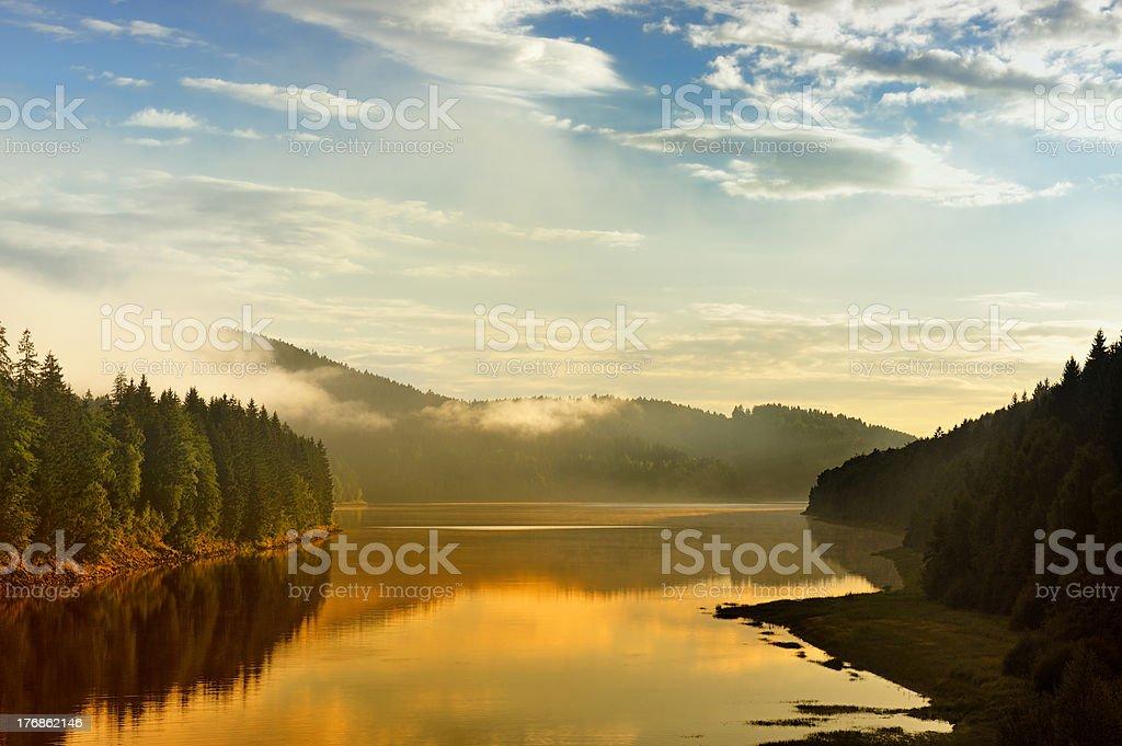 Sunset in Sösestausee stock photo