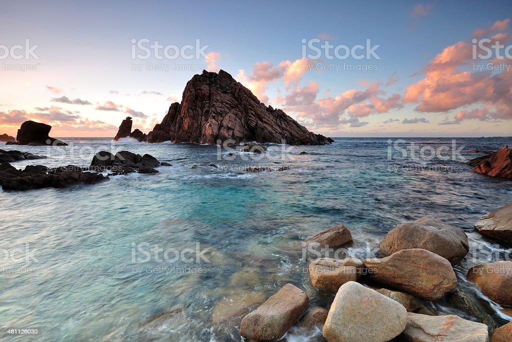 Sunset in Sugarloaf Rock in Margaret River stock photo